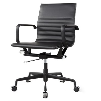 Vegan Leather Office Chair Color: Black, Frame Finish: Black