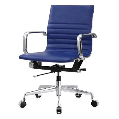 Vegan Leather Office Chair Color: Blue, Frame Finish: Aluminum