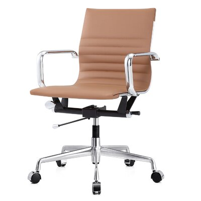 Vegan Leather Office Chair Color: Brown, Frame Finish: Aluminum