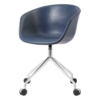 Leather Desk Chair Color: Navy
