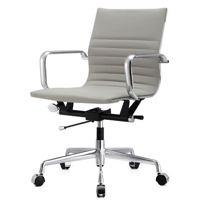 Vegan Leather Office Chair Color: Grey, Frame Finish: Aluminum