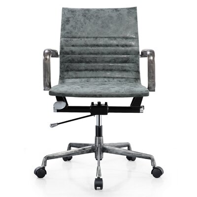 Vegan Leather Office Chair Color: Green, Frame Finish: Aged Gunmetal