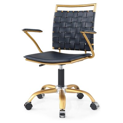 Desk Chair Upholstery Color: Gold and Navy Blue