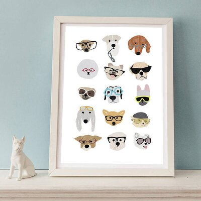 Hanna Melin Dogs with Glasses Painting Print
