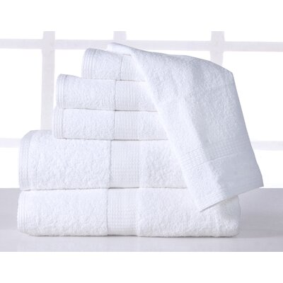 Farnworth Plush 6 Piece 100% Cotton Towel Set Color: White