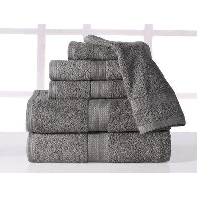Farnworth Plush 6 Piece 100% Cotton Towel Set Color: Platinum