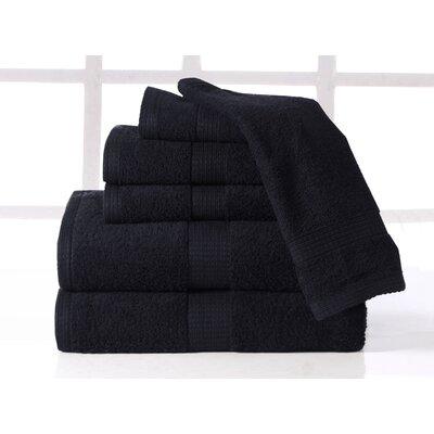 Farnworth Plush 6 Piece 100% Cotton Towel Set Color: Onyx