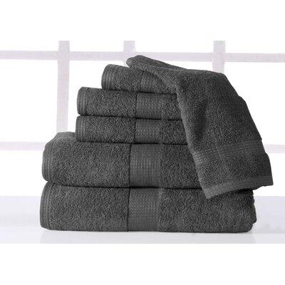 Farnworth Plush 6 Piece 100% Cotton Towel Set Color: Gray