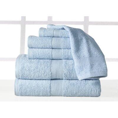 Farnworth Plush 6 Piece 100% Cotton Towel Set Color: Blue