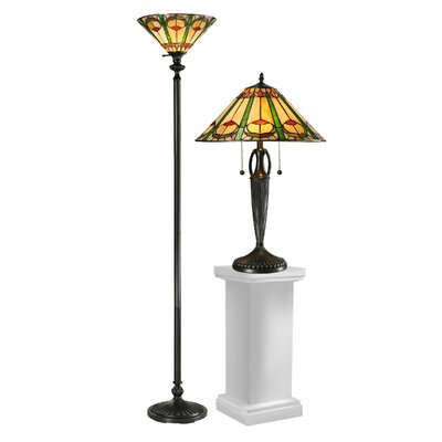 Dale Tiffany Quill 2 Piece Table and Torchiere Floor Lamp Set