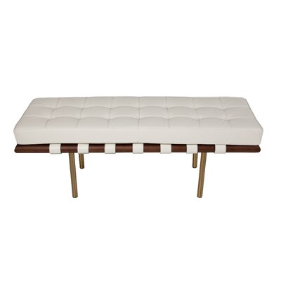 Supriya Upholstered Wood Bench Upholstery: White