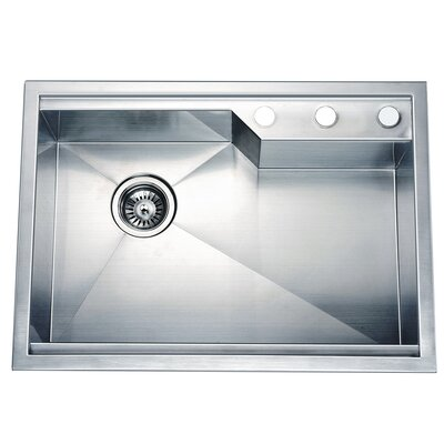 "26.38"" L x 18.88"" W Dual Mount Square Single Bowl Kitchen Sink"