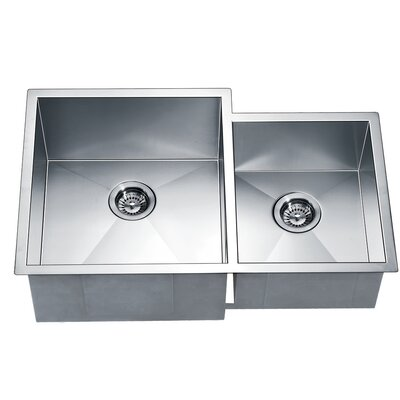 "33"" L x 20.5"" W Under Mount Square Double Bowl Kitchen Sink"