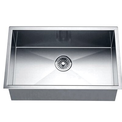 "26"" L x 18"" W Under Mount Square Single Bowl Kitchen Sink"