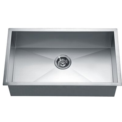 "33"" L x 18"" W Under Mount Square Single Bowl Kitchen Sink"