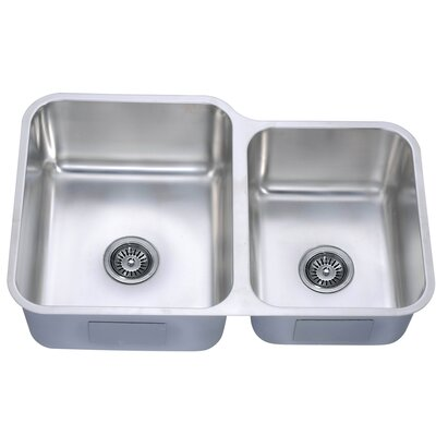 "32"" L x 20.63"" W Under Mount Double Bowl Kitchen Sink"