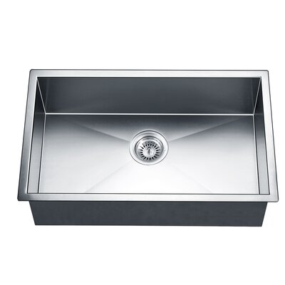 "30"" L x 18"" W Under Mount Square Single Bowl Kitchen Sink"
