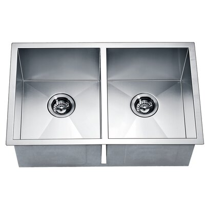 "29"" L x 18"" W Under Mount Equal Double Square Kitchen Sink"