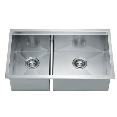 "32"" L x 19"" W Under Mount Square Double Bowl Kitchen Sink"