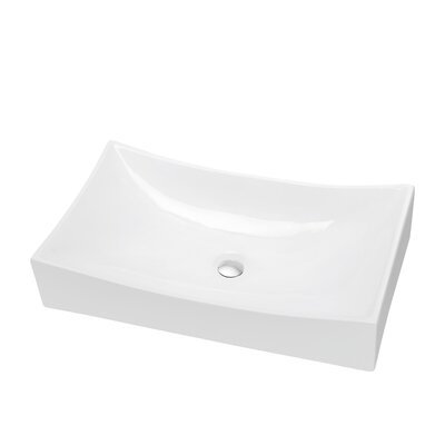 Ceramic Circular Vessel Bathroom Sink with Overflow