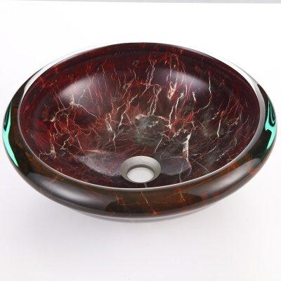 Tempered Glass Circular Vessel Bathroom Sink