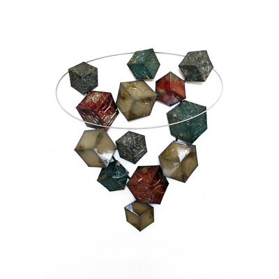 House Additions 3D Cubes in a Circle Wall Decor