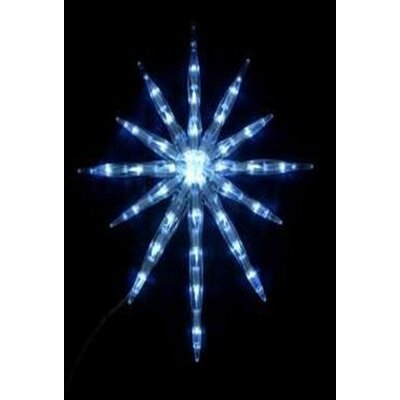 LED Lighted Cool White 12-Point Starburst Hanging Christmas Decoration