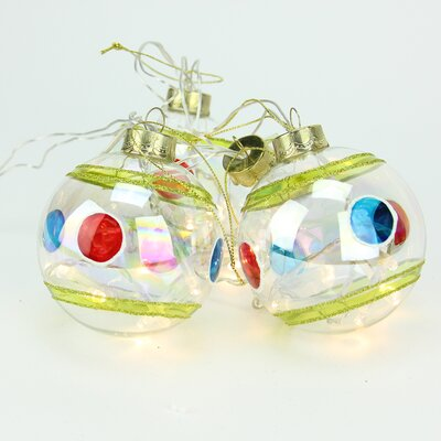 4 Piece Battery Operated Stripe and Dot Glass Ball LED Lighted Christmas Ornament Set