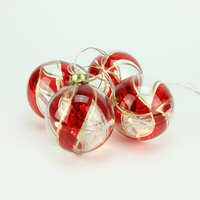 4 Piece Battery Operated Red and Gold Swirl Glass Ball LED Lighted Christmas Ornament Set