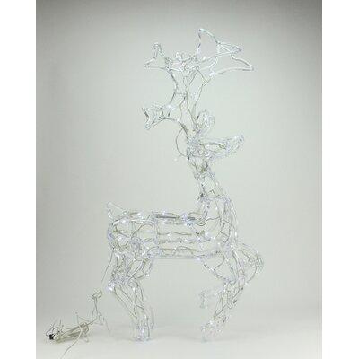 LED Lighted Standing Buck Deer Spun Glass Christmas Decoration