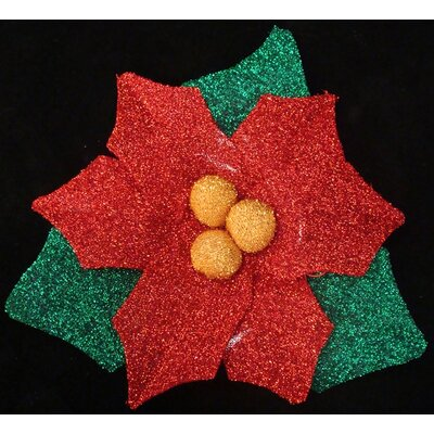 Christmas Traditions Pre-Lit Tinsel Poinsettia Christmas Window Decoration