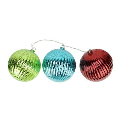 3 Light Multi-Color Mercury Glass Finish Finial Christmas Ornament Light String