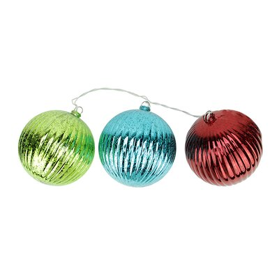 3 Light Multi-Color Mercury Glass Finish Ribbed Ball Christmas Ornament String