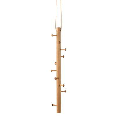 """Copenhanger"" Oak and Leather Ceiling Coat Hanger Finish: Oiled Oak"