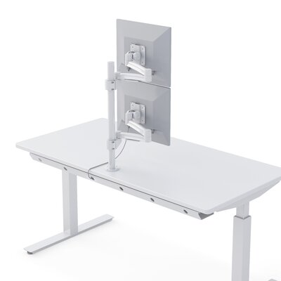 """Dual TV and Monitor Articulating Universal Pole Mount for 28"""" - 32"""" Flat Panel Screens Color: White"""