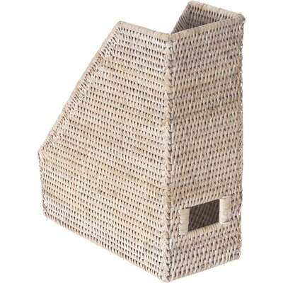 Maguire Handwoven Rattan Magazine File Size: Small, Color: White Wash