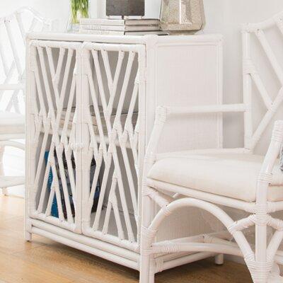 Margrett Rattan Accent Cabinet Color: White