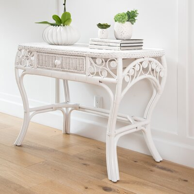Rosana Rattan Console Table Color: White