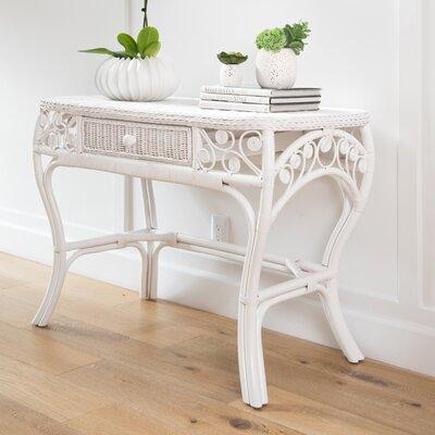 Rosana Rattan Console Table Color: White