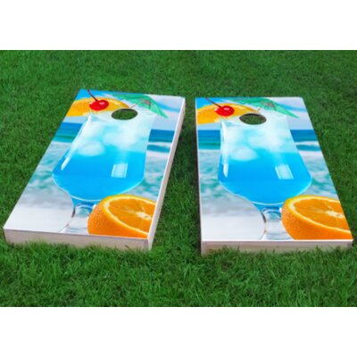 "Blue Drink on the Beach Cornhole Game Bag Fill: Whole Kernel Corn, Size: 48"" H x 12"" W"