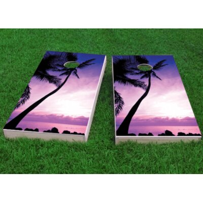 "Palm Tree Sunrise Cornhole Game Size: 48"" H x 24"" W, Bag Fill: All Weather Plastic Resin"