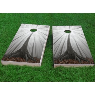 "Trees in a Foggy Forest Cornhole Game Bag Fill: Whole Kernel Corn, Size: 48"" H x 12"" W"