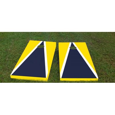 """Michigan Cornhole Game Color: Navy/Bright Yellow, Bag Fill: All Weather Plastic Resin, Size: 48"""" H x 12"""" W"""