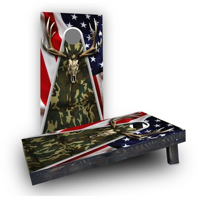 Camouflage Deer Mount with Flag Background Cornhole Bag Fill: Light Weight Boards with All Weather Bags/Handles