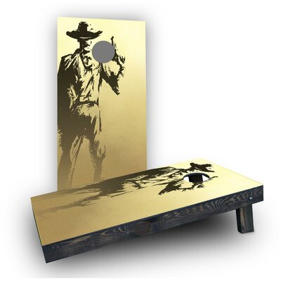 Old Time Gun Holding Cowboy Cornhole Boards Bag Fill: Heavier Boards with Corn Filled Bags
