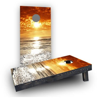 Beach Sunset 2 Cornhole Boards Bag Fill: Light Weight Boards with All Weather Bags