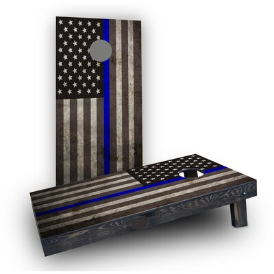 American Thin Blue Line Cornhole Game Bag Fill: All Weather Plastic Resin, Size: Lightweight Boards 1 x 4 Frame