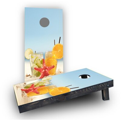 Drinks on Beach Cornhole Boards Bag Fill: Light Weight Boards with All Weather Bags