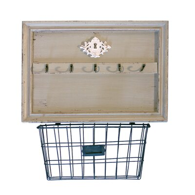 Wood Wall 5 Hook Rack with Metal Basket