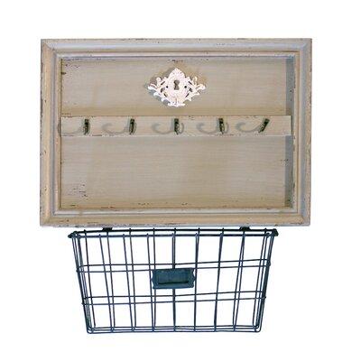 Wood Wall 5 Hook Rack with Metal Basket
